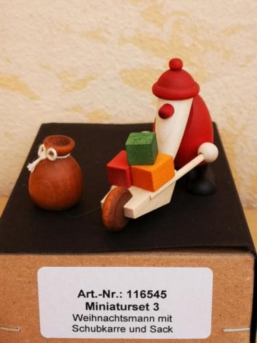 Weihnachtsmann mit Schubkarre und Sack (Miniaturset 3)