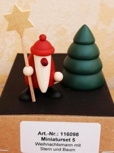 Weihnachtsmann mit Stern und Baum (Miniaturset 5)